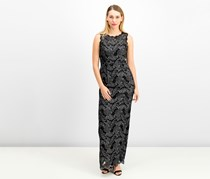 Adrianna Papell Two-Tone Lace Gown, Black/Silver