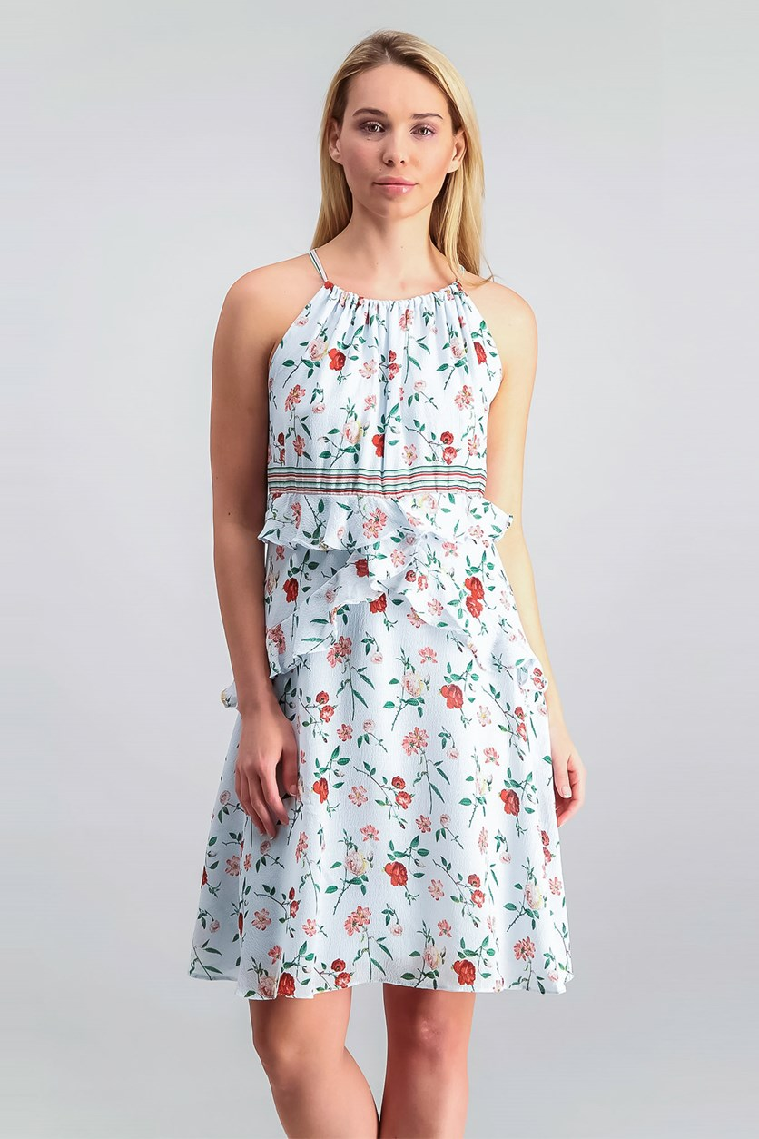 London Floral-Print Shift Dress, Light Blue