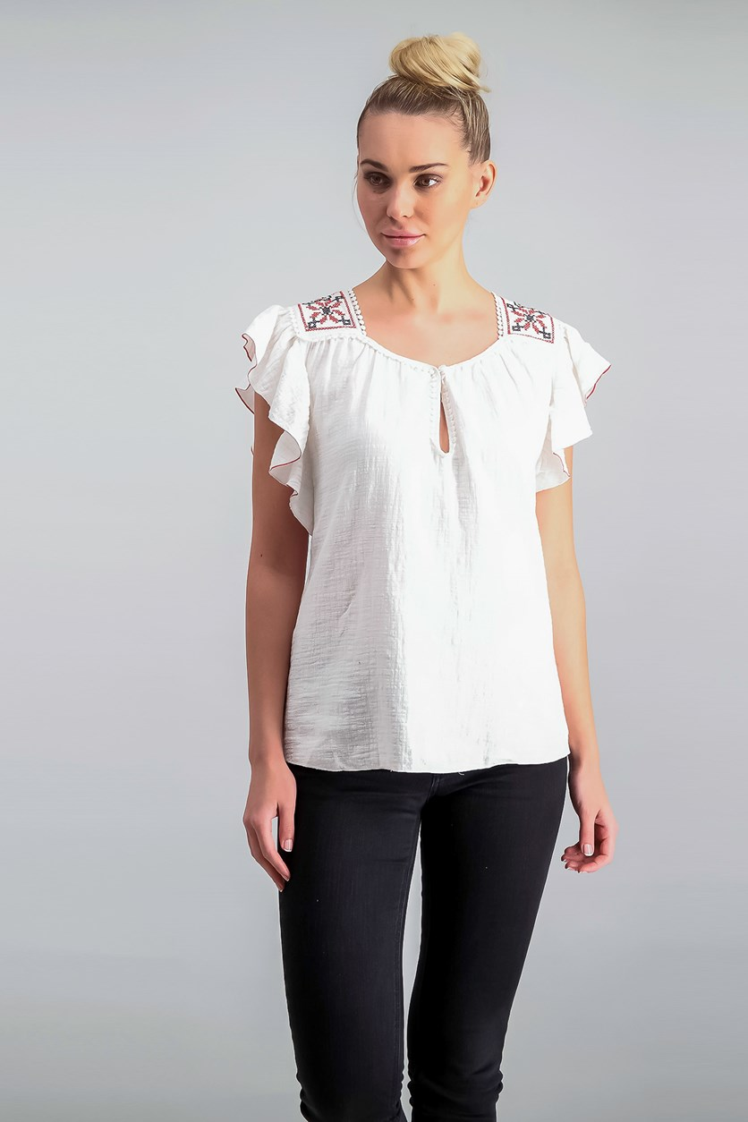 London Embroidered Flutter-Sleeve Top, White