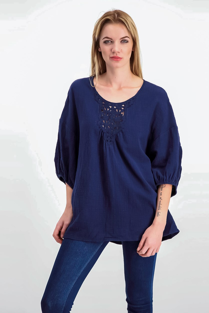 London Cotton Elbow-Sleeve Top, Navy