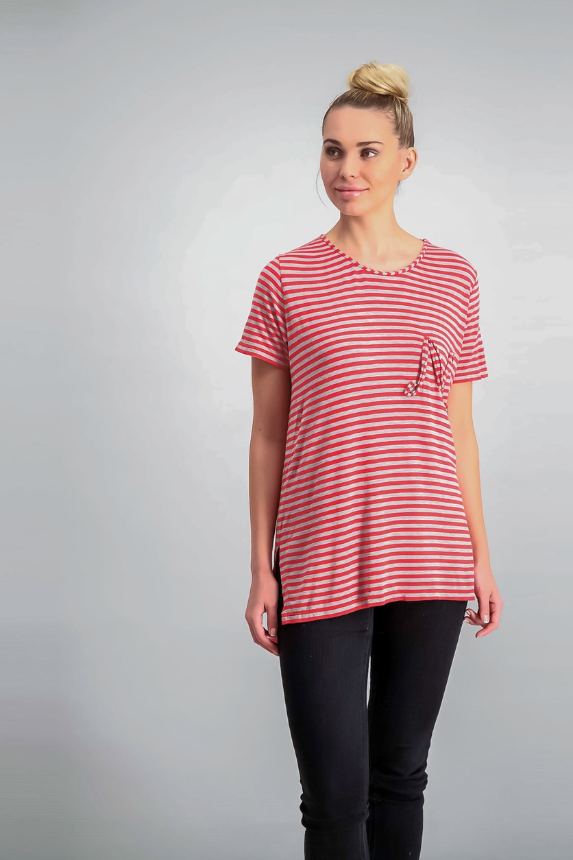 London High-Low Emblem T-Shirt, Red