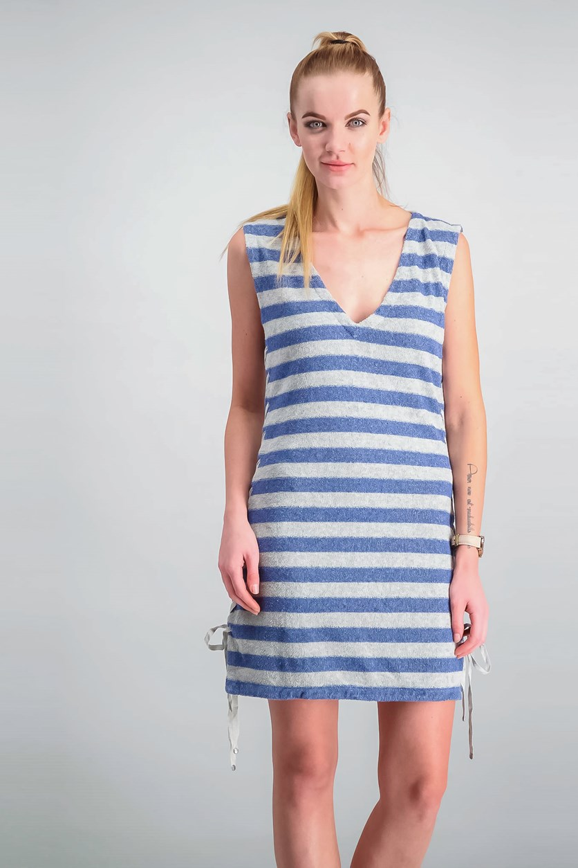 Women Lace-Up Striped Dress, Blue/Grey