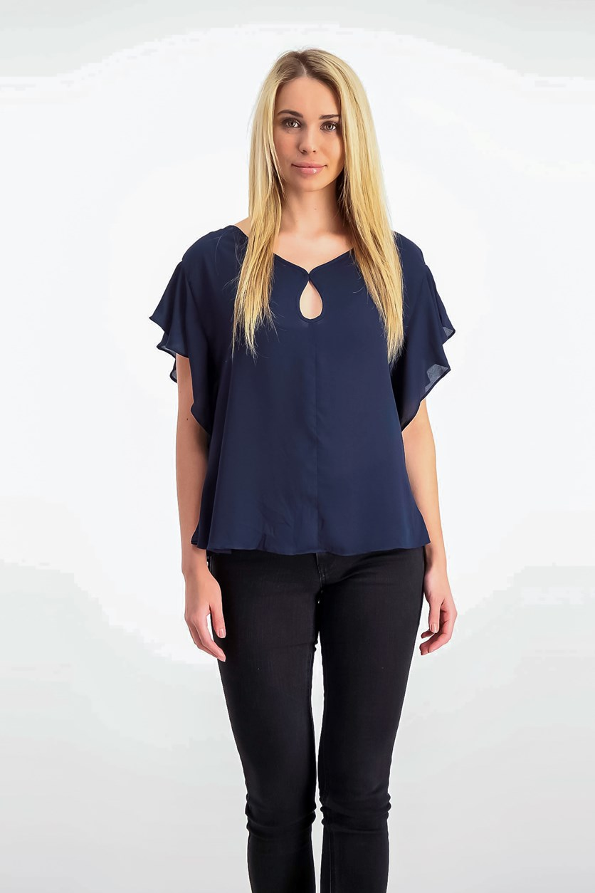 London Keyhole Flutter-Sleeve Top, Navy
