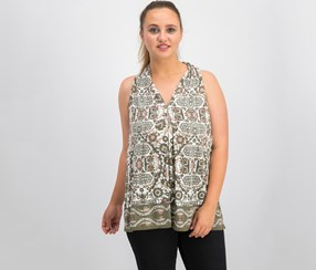 Max Studio Women's Printed Rayon Jersey Top, Olive/White