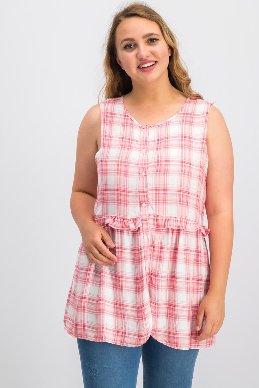 London Ruffled Plaid Top, Red