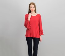 Max Studio London Women's Ruffled-Sleeve Top, Scarlet