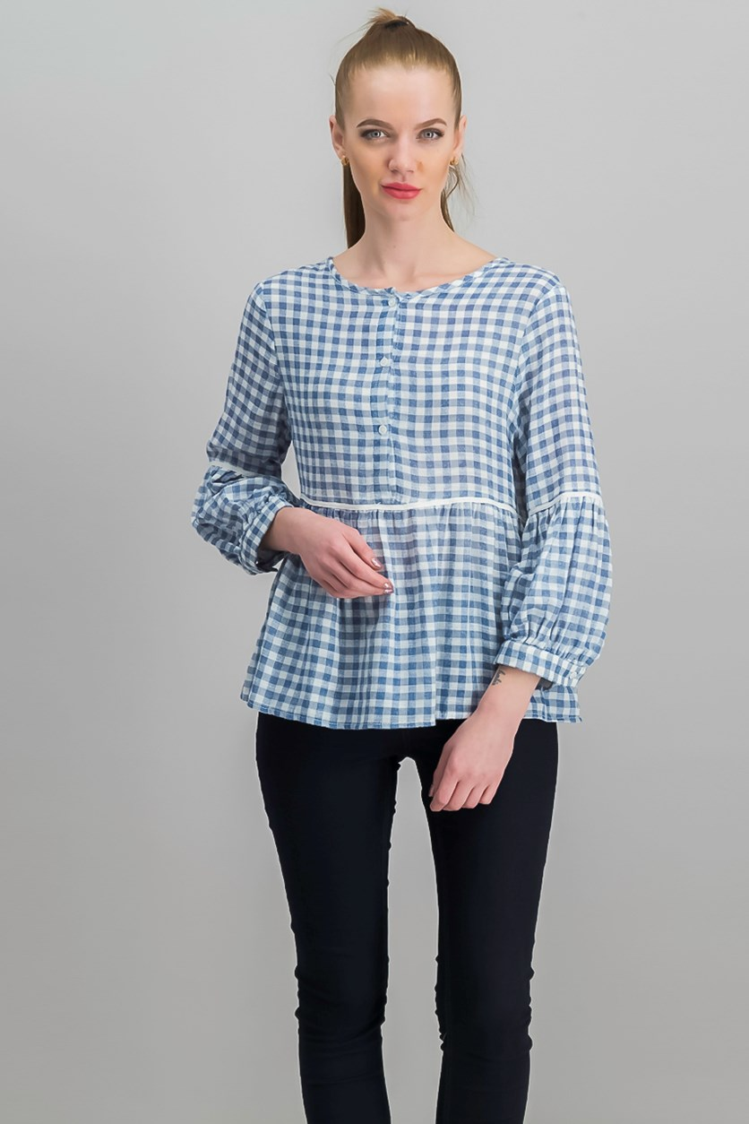 London Cotton Empire-Waist Top, Blue/White