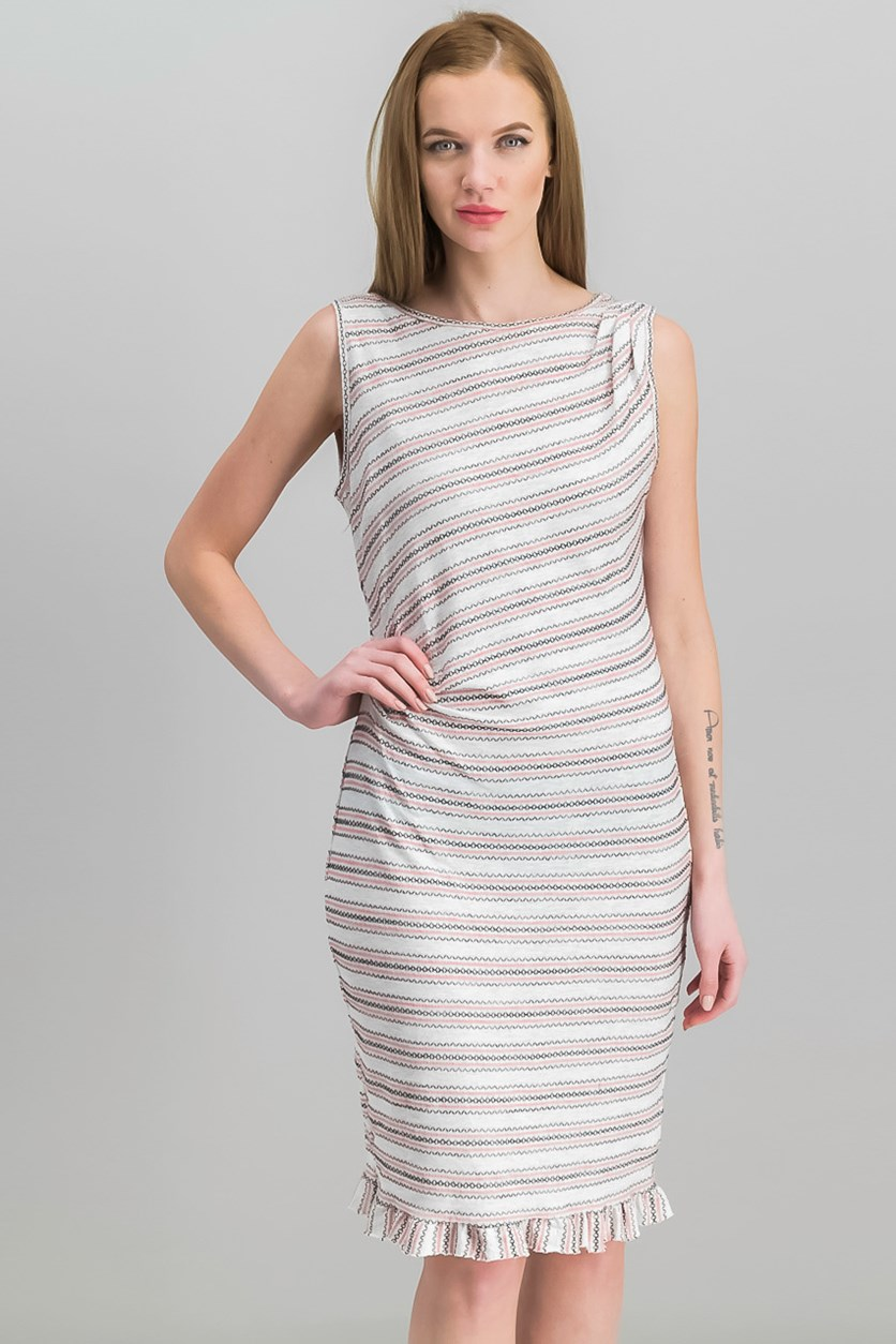 Women Side-Ruched Striped Sheath Dress, Cream/Black