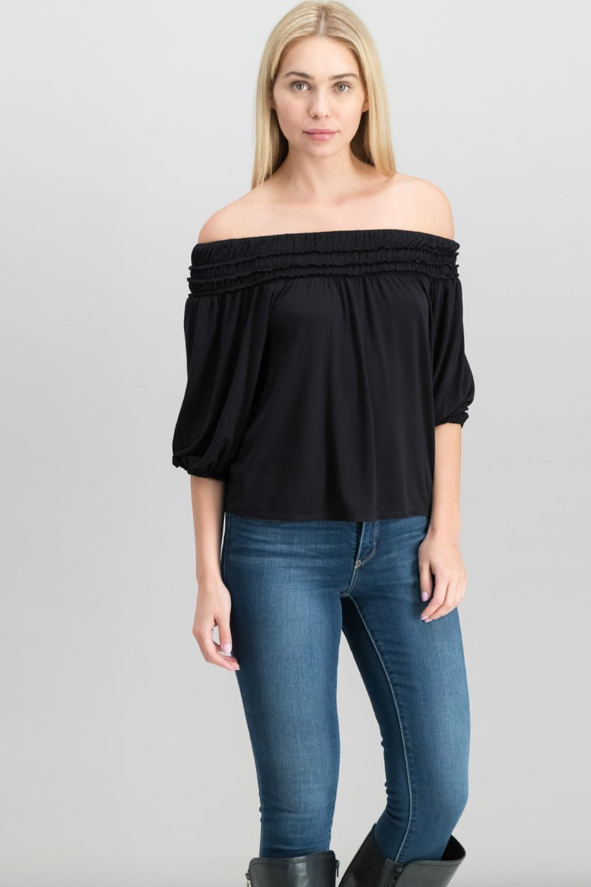 London Jersey Off-The-Shoulder Top, Black