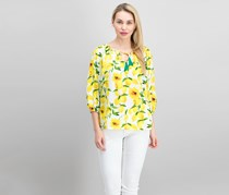 Three Quarter Sleeve Blouse, Yellow/White/Green