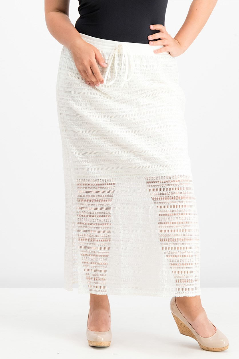 Lace Side-Slit Maxi Skirt, Ivory