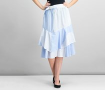 DKNY Cotton Ruffled Colorblocked Skirt, Light Indigo