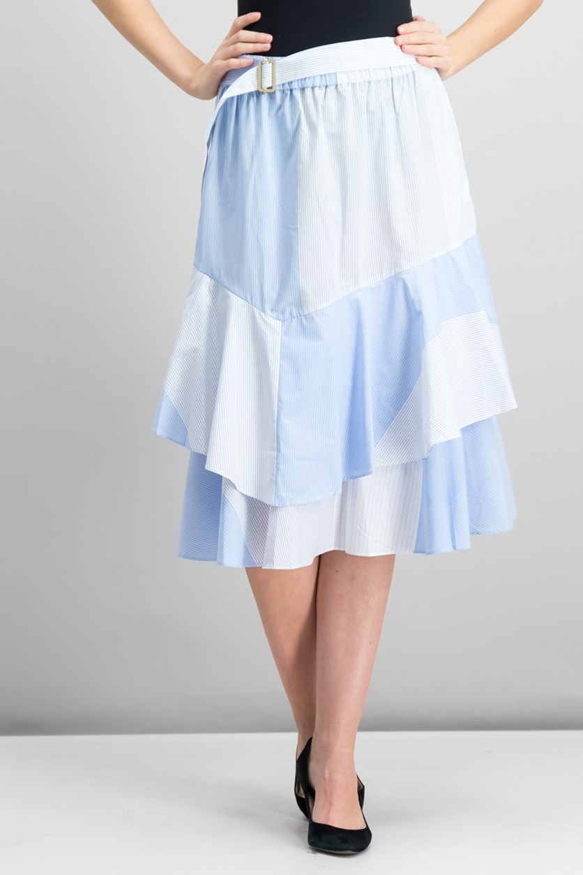 Cotton Ruffled Colorblocked Skirt, Light Indigo
