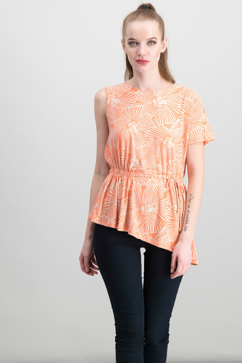 Women's Printed Asymmetrical Top, Coral