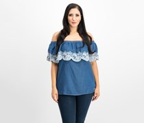 DKNY Off-The-Shoulder Chambray Top, Rinse Denim