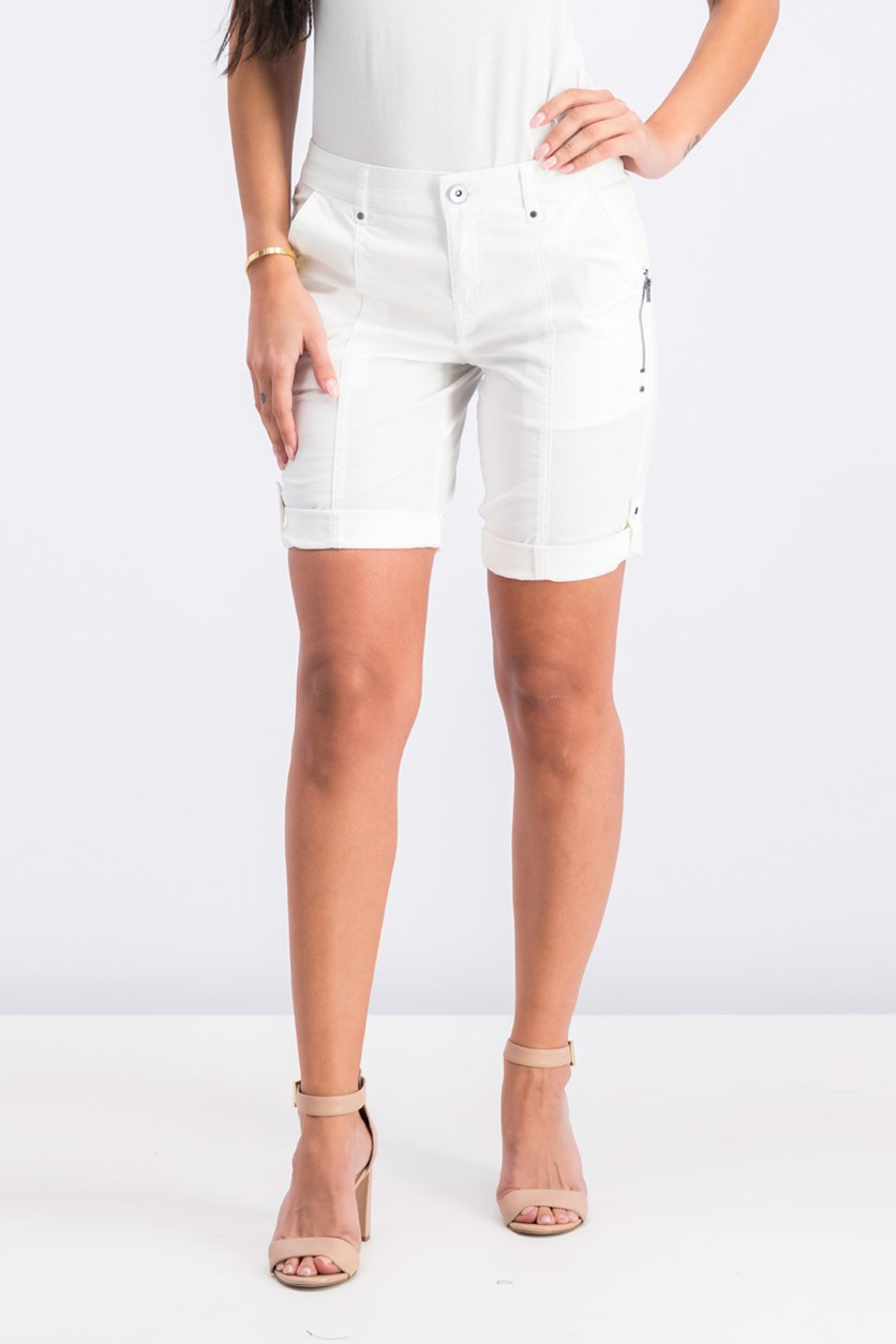 Petite Cuffed Zipper-Detail Short, Bright White