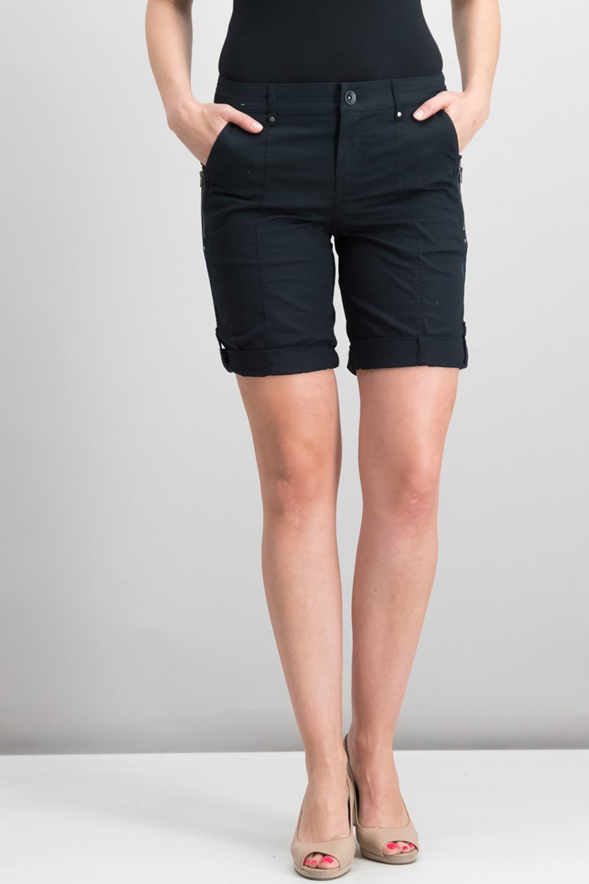 Petite Cuffed Bermuda Shorts, Deep Black