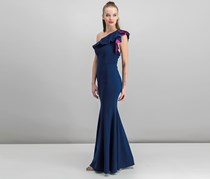 XSCAPE Ruffled One-Shoulder Gown, Navy/Fuchsia