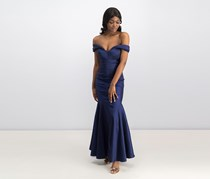 Xscape Off-The-Shoulder Ruched Mermaid Gown, Sapphire