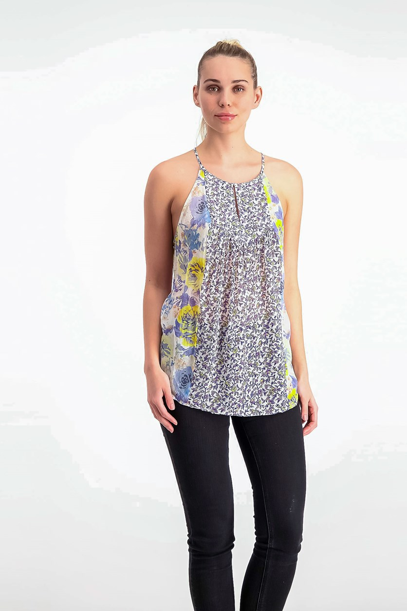 Amsonia Printed Silk Top, Porcelain