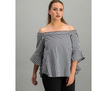 Lea & Viola Women's Gingham Off Shoulder Top, Black/White