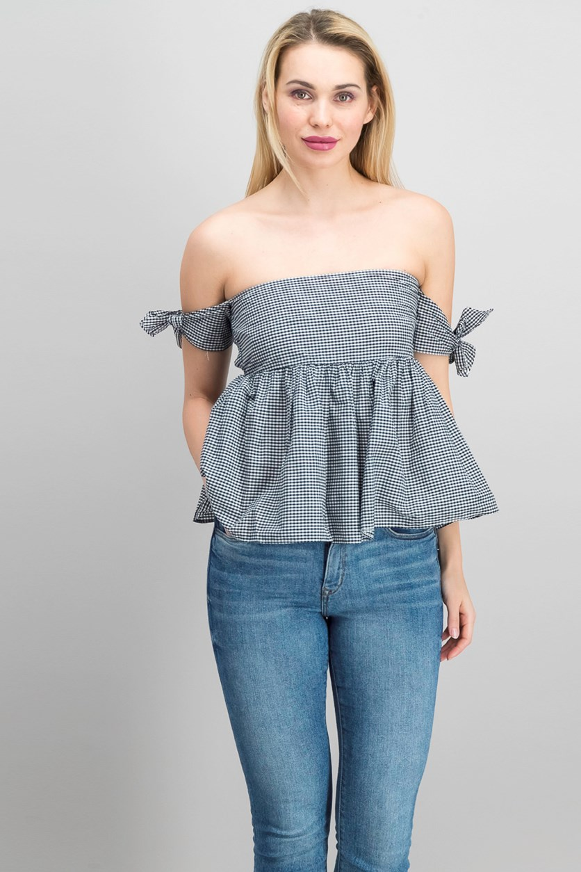 Off Shoulder Gingham Top, Black/White