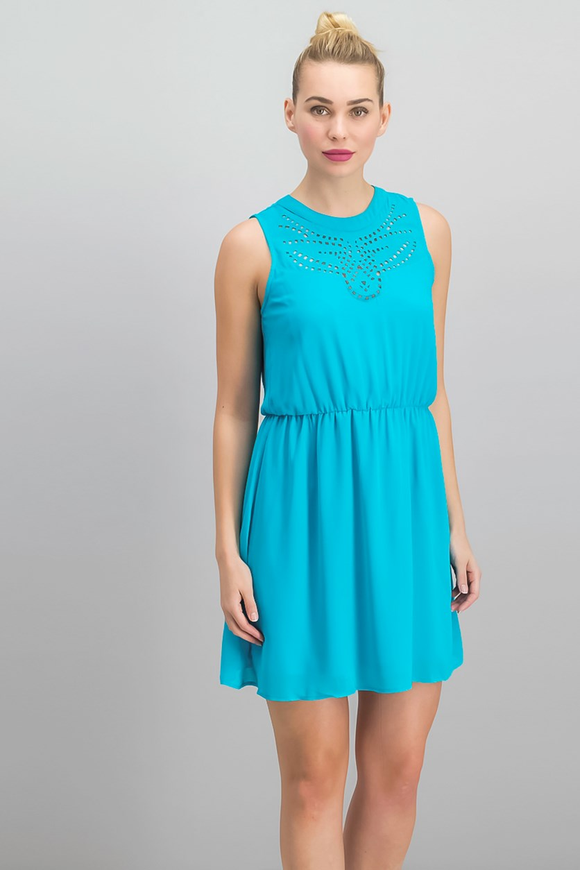Laser Cut Fit Flare Dress, Sea Isle