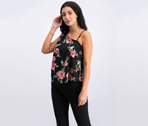 Seven Sisters Juniors Printed One-Shoulder Top, Black Floral