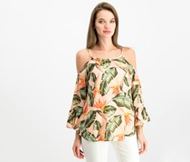 Seven Sisters Juniors Printed Bell-Sleeved Top, Peach Floral