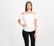 Seven Sisters Juniors' Off-the-Shoulder Back-Tie Top, OffWhite