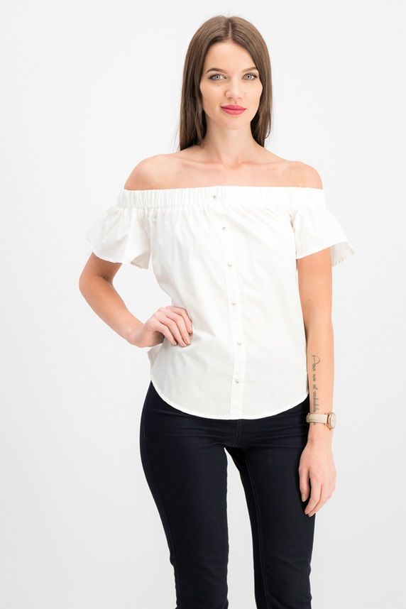 f71a7d95058034 Seven Sisters Juniors' Off-the-Shoulder Back-Tie Top, OffWhite