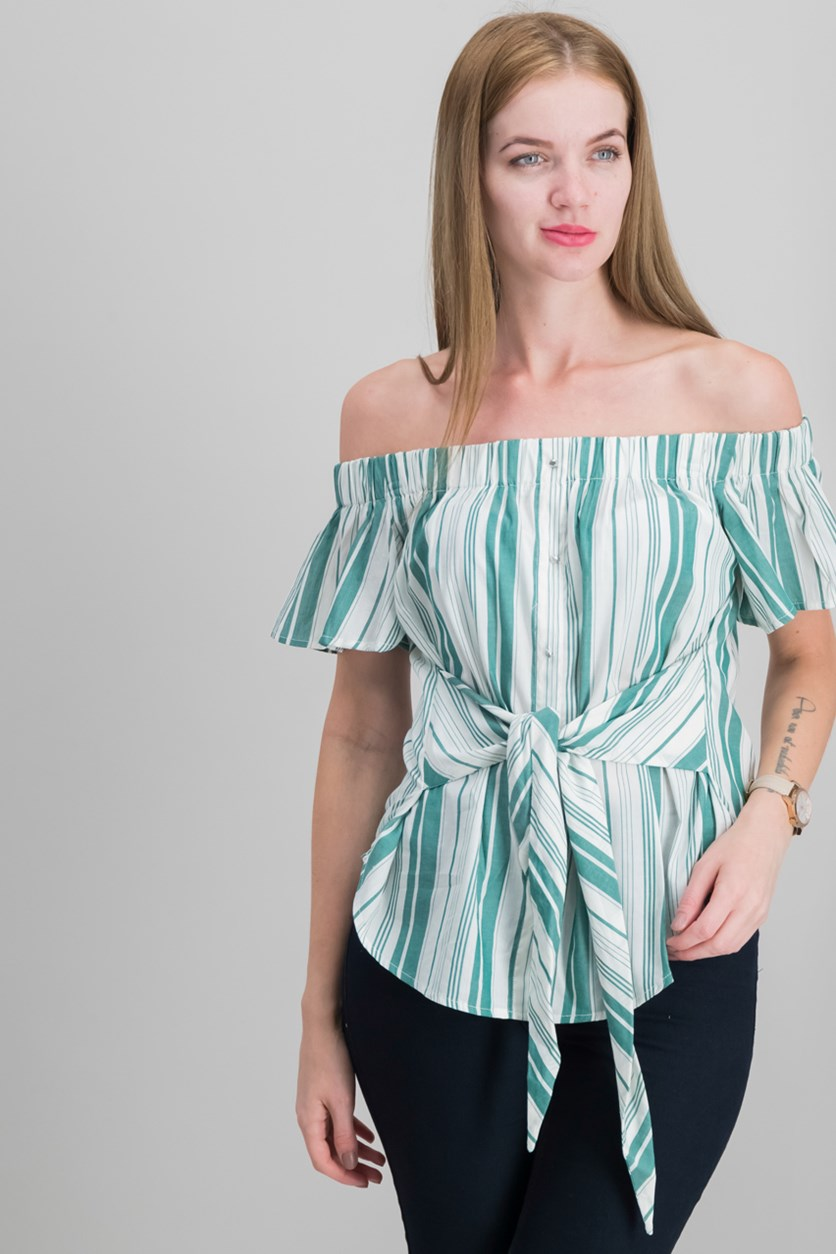 7 Sisters Juniors Striped Off-The-Shoulder Tops, Green Stripe