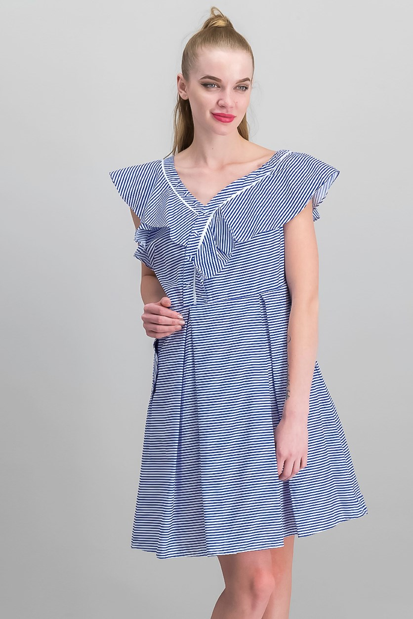 Womens Shift Dress, Blue/White
