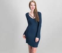 Planet Gold Juniors' Strap-Detailed Soft Bodycon Dress, Blue Night