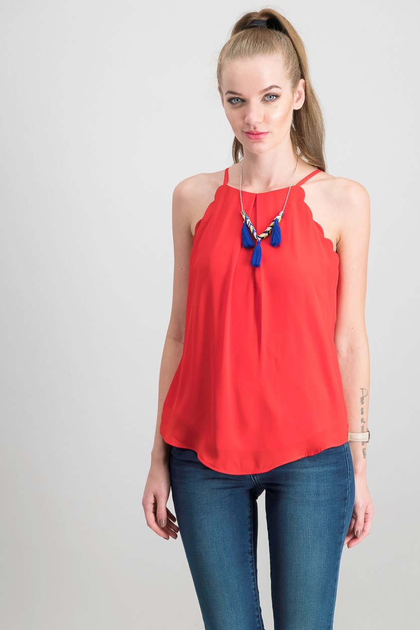 Juniors Scalloped Cutaway Top, Red