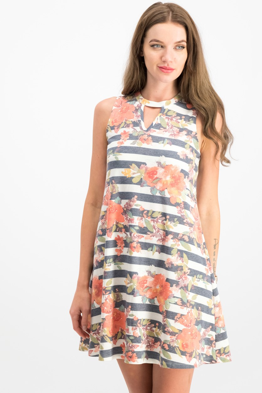 Juniors' Floral Striped Keyhole Dress, Coral/Navy
