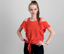 Bcx Juniors' Cold Shoulder Tie Front Top With Necklace Top, Red