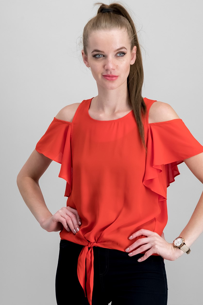 Juniors' Cold Shoulder Tie Front Top With Necklace Top, Red