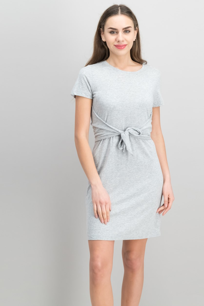 Women Juno Cotton Tie-Waist Dress, Heather Grey