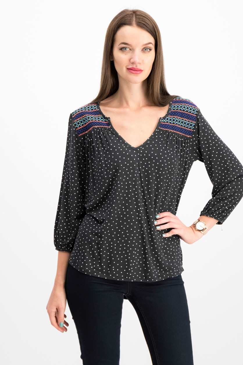 Women's Annabelle Embroidered Top, Black