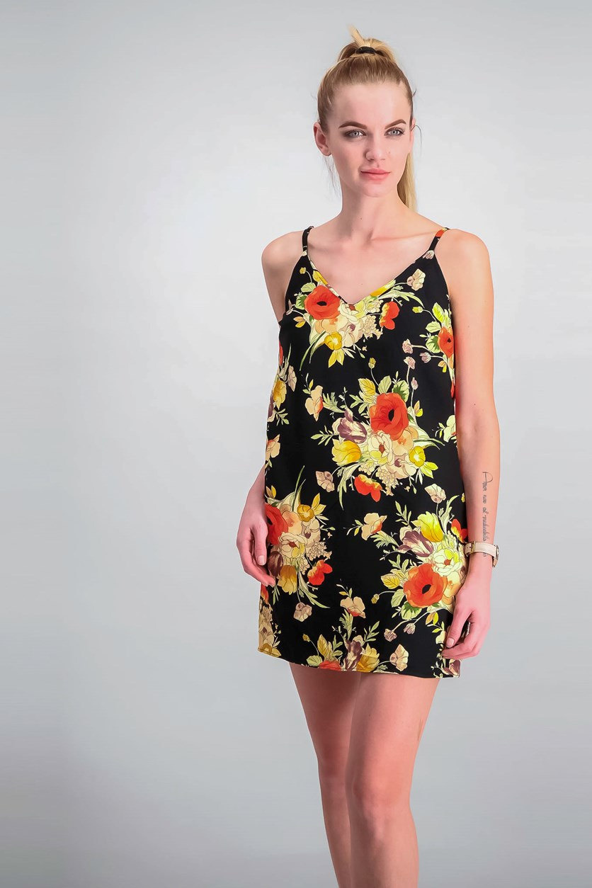 Printed Mini Slip Dress, Black/Yellow/Red