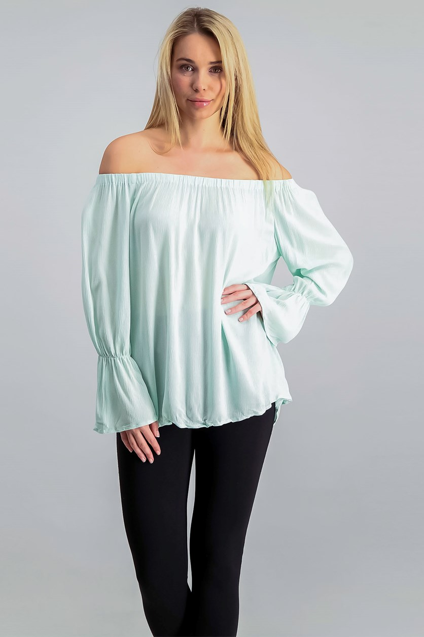 Women's Off-The-Shoulder Top, Mint Tea