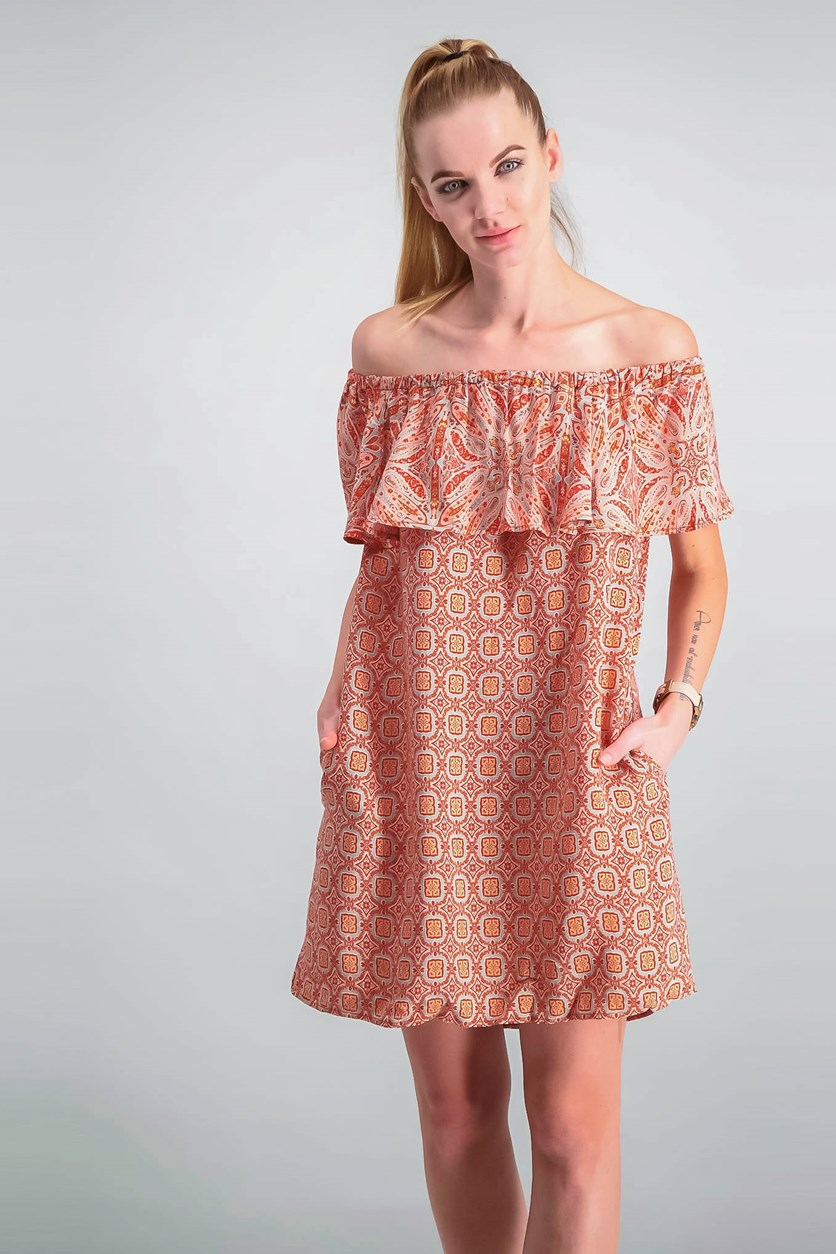 Misha Off-The-Shoulder Printed Flounce Dress, Red Combo