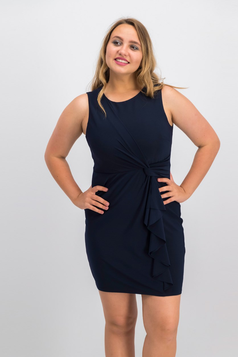 Petite Draped Twist-Detail Sheath Dress, Navy