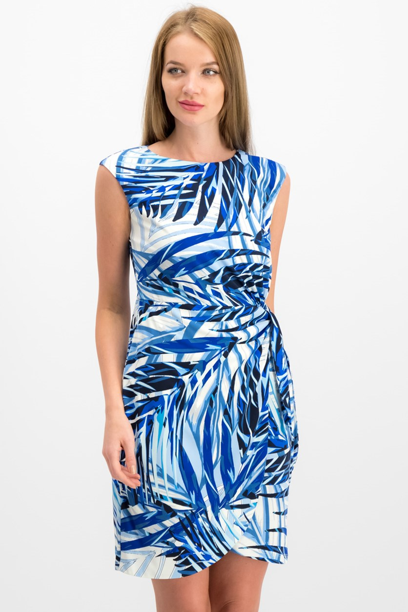 Petite Palm-Print Side-Tie Dress, Blue Combo