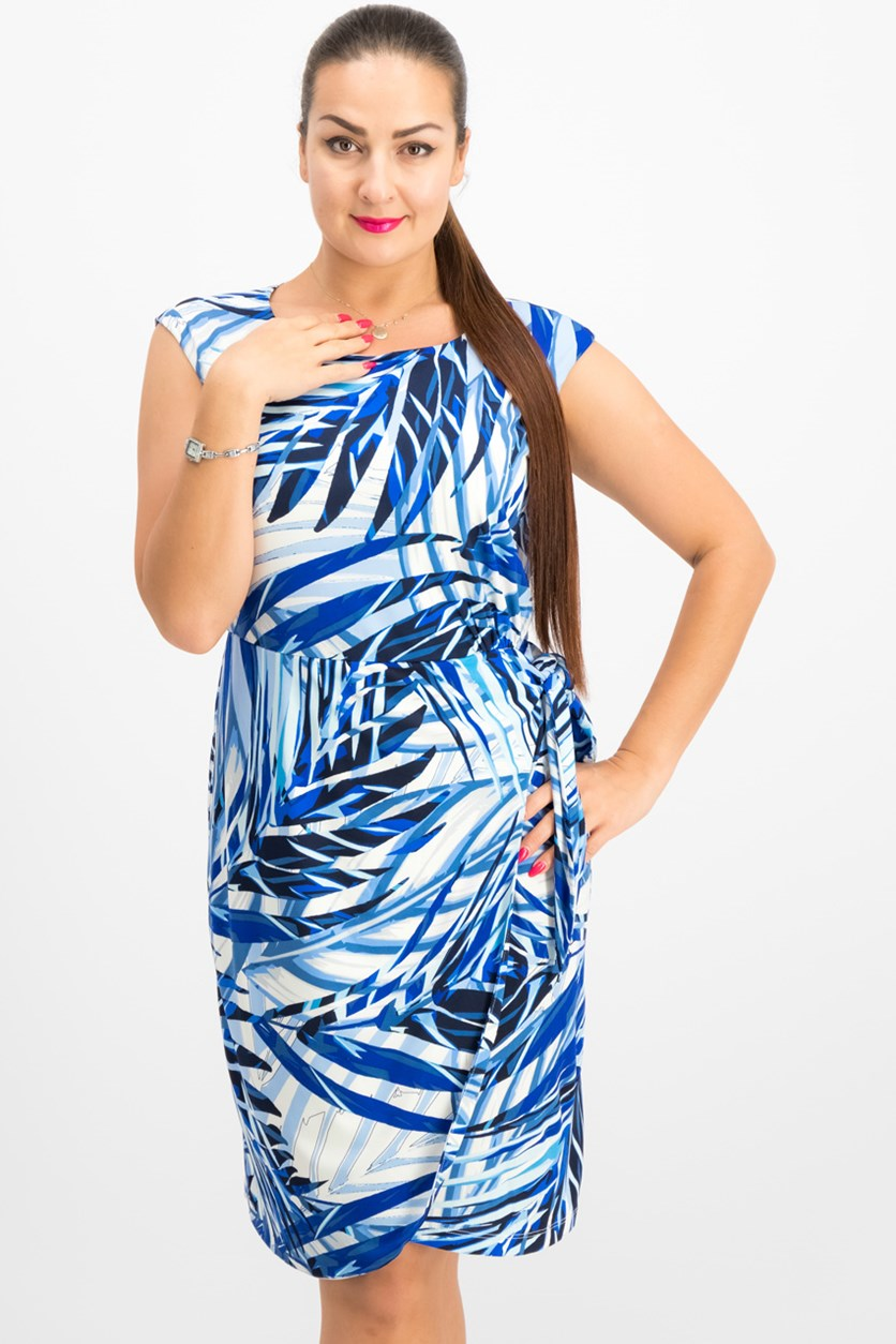 Palm-Print Side-Tie Dress, Blue