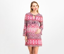 Vince Camuto Tile-Print Bell-Sleeve Dress, Pink Combo