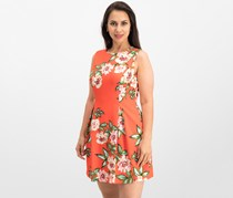 Jessica Howard Petite Floral-Print A-Line Dress, Orange