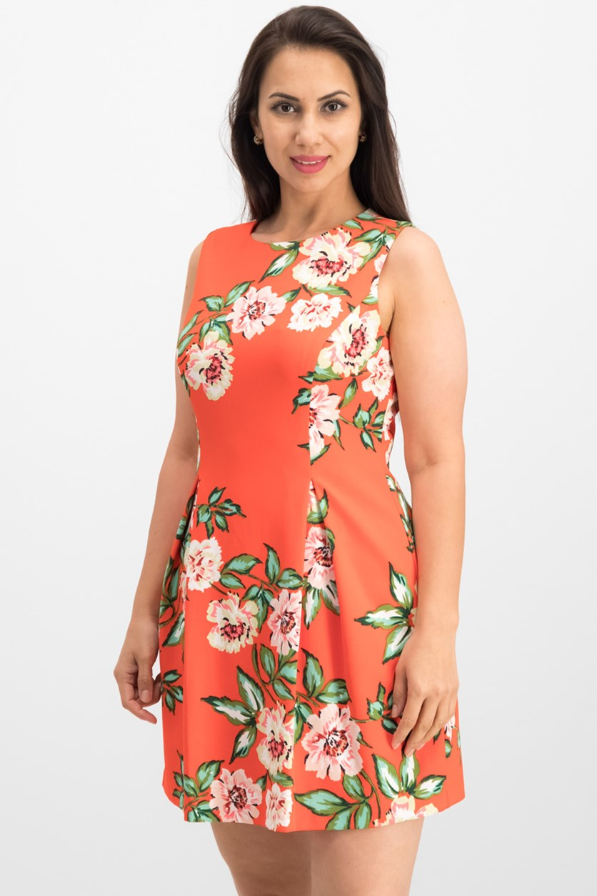 Petite Floral-Print A-Line Dress, Orange