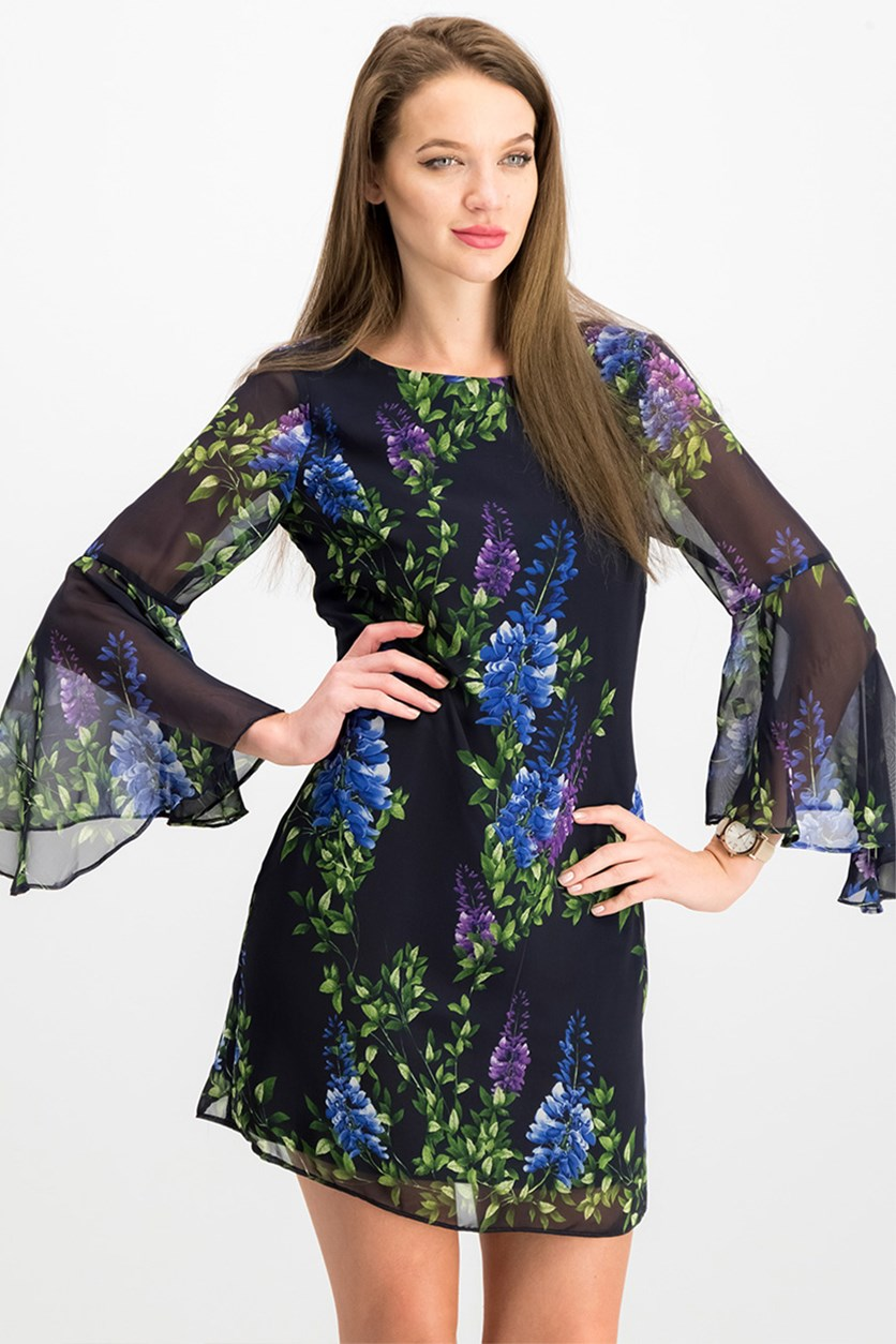 Petite Floral Bell-Sleeve Dress, Navy